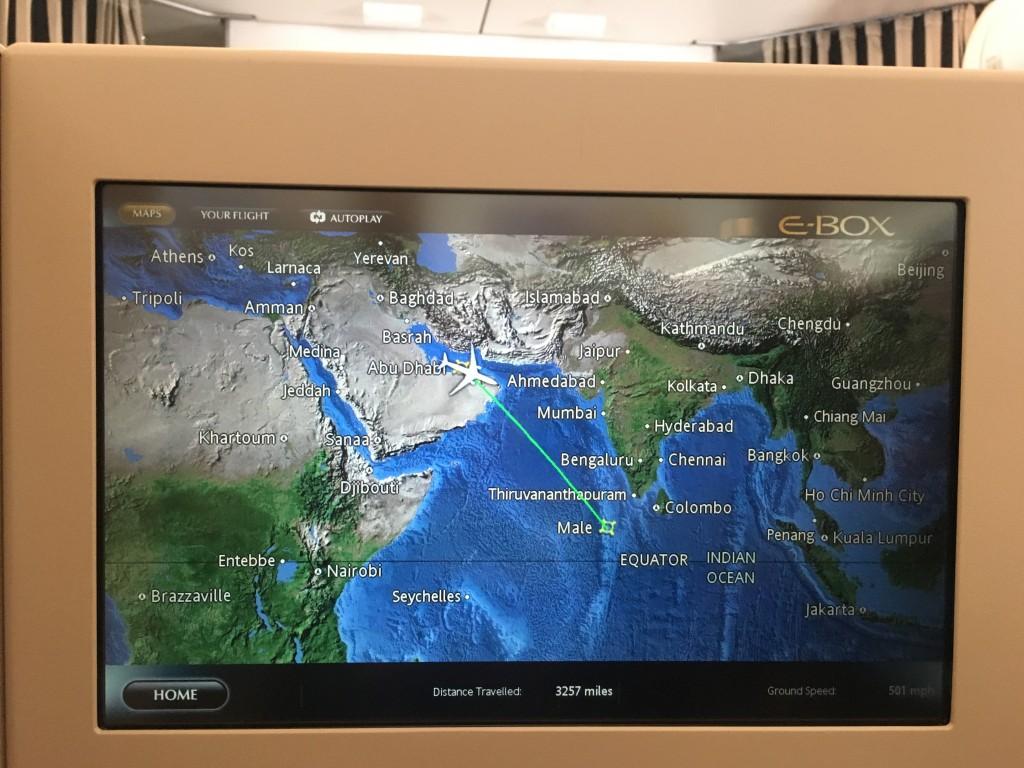 Карта полета по маршруту Абу-Даби - Мале